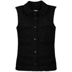 Chanel Black Wool Boucle Vest w/ Fringe sz 38