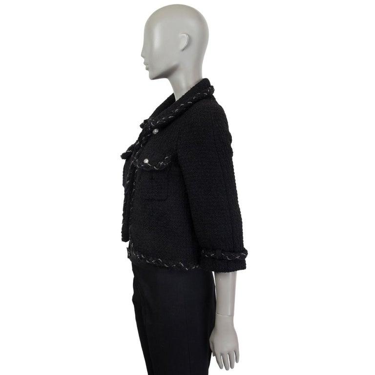 Black CHANEL black wool CHAIN BRAID TRIM Blazer Jacket 36 XS For Sale