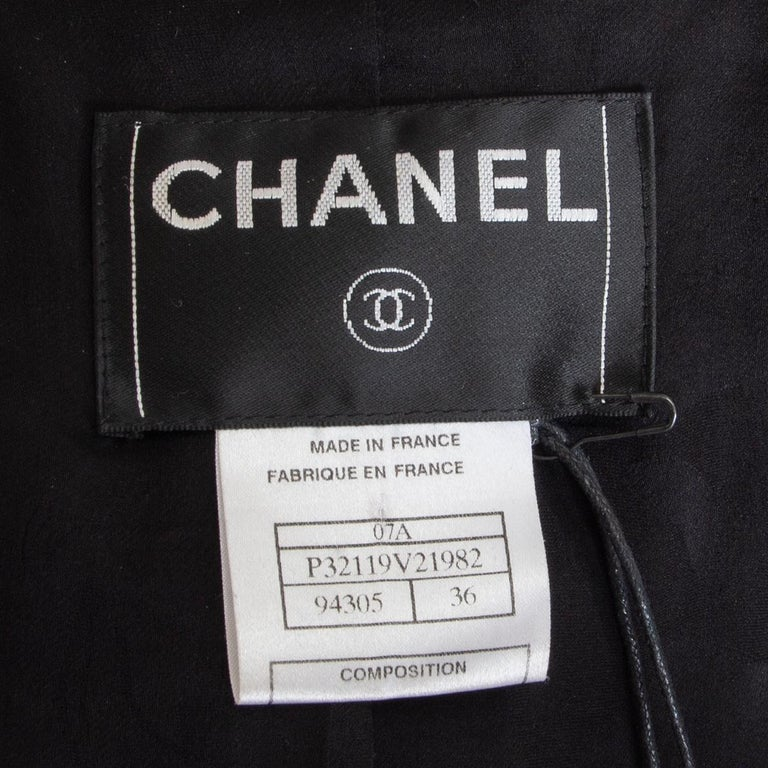 CHANEL black wool CHAIN BRAID TRIM Blazer Jacket 36 XS For Sale 1