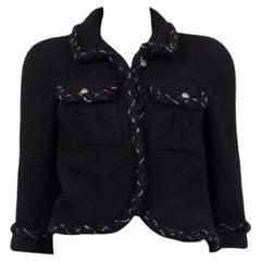 CHANEL black wool CHAIN BRAID TRIM Blazer Jacket 36 XS