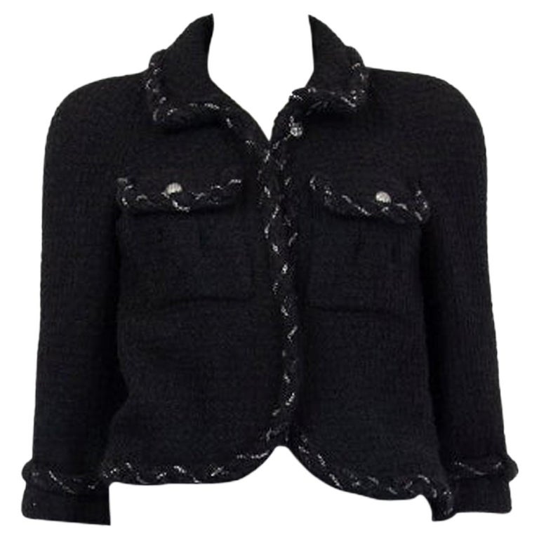 CHANEL black wool CHAIN BRAID TRIM Blazer Jacket 36 XS For Sale