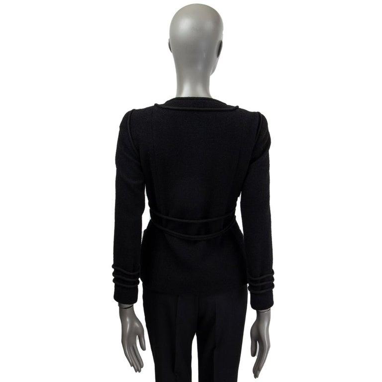 Black CHANEL black wool CORD BELT Tweed Blazer Jacket 38 S For Sale