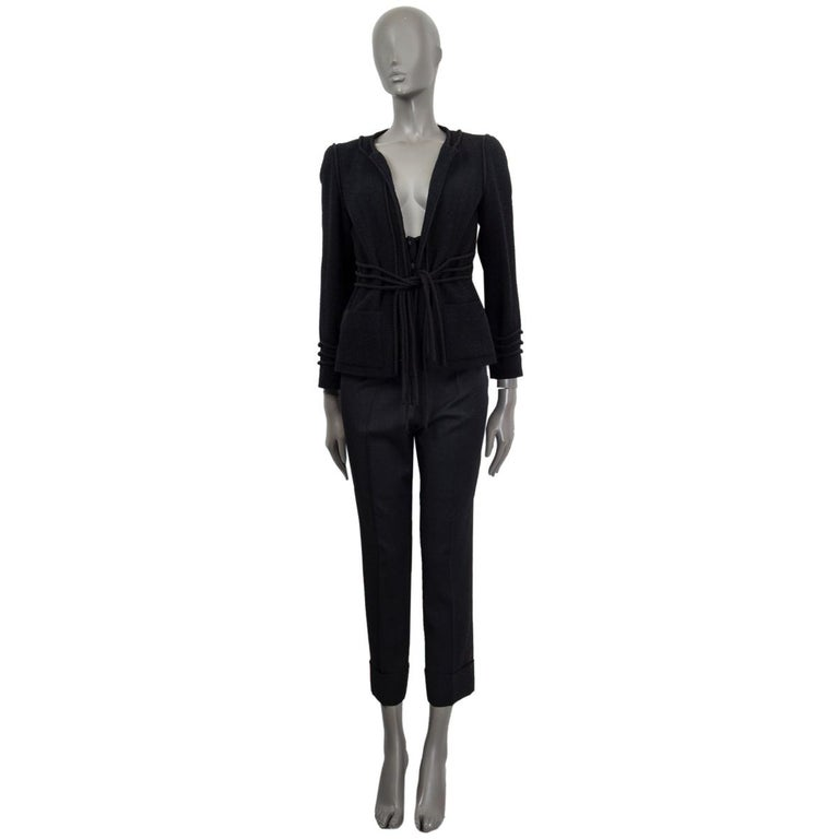CHANEL black wool CORD BELT Tweed Blazer Jacket 38 S In Excellent Condition For Sale In Zürich, CH