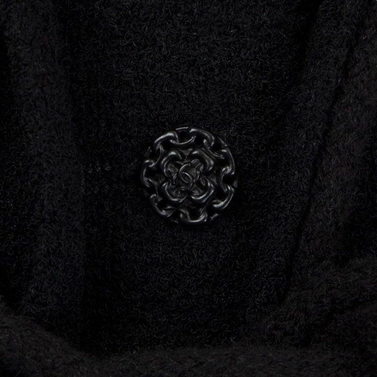 Women's CHANEL black wool CORD BELT Tweed Blazer Jacket 38 S For Sale