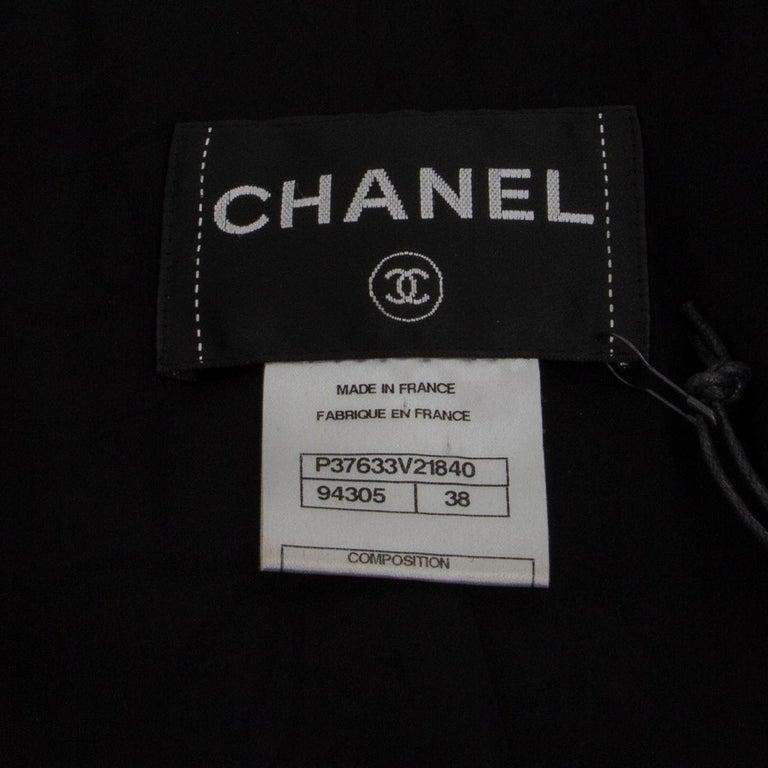 CHANEL black wool CORD BELT Tweed Blazer Jacket 38 S For Sale 1