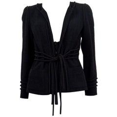 CHANEL black wool CORD BELT Tweed Blazer Jacket 38 S