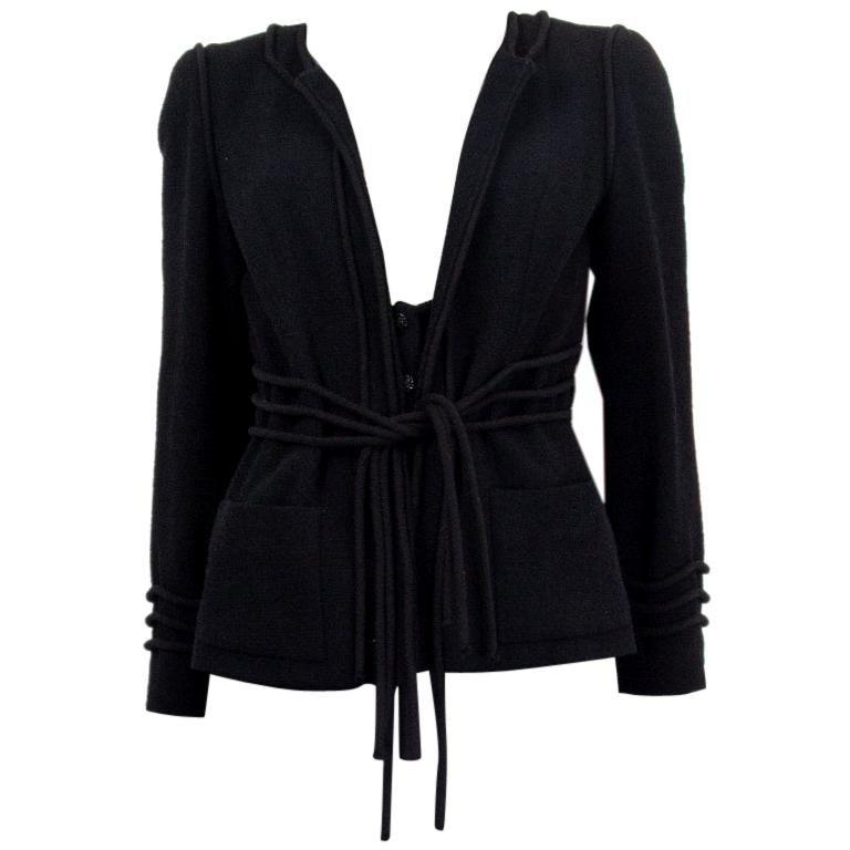 CHANEL black wool CORD BELT Tweed Blazer Jacket 38 S For Sale