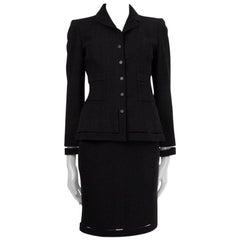 CHANEL black wool CUT-OUT SEAMS Tweed Blazer Jacket 36 XS
