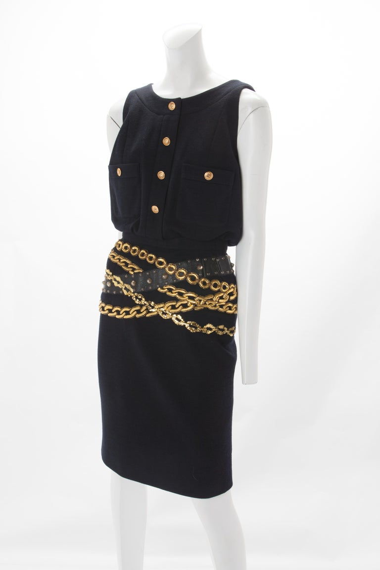 Chanel Black Wool Dress with Gold Chain Trompe L'oeil, 1985. In Good Condition For Sale In New York, NY