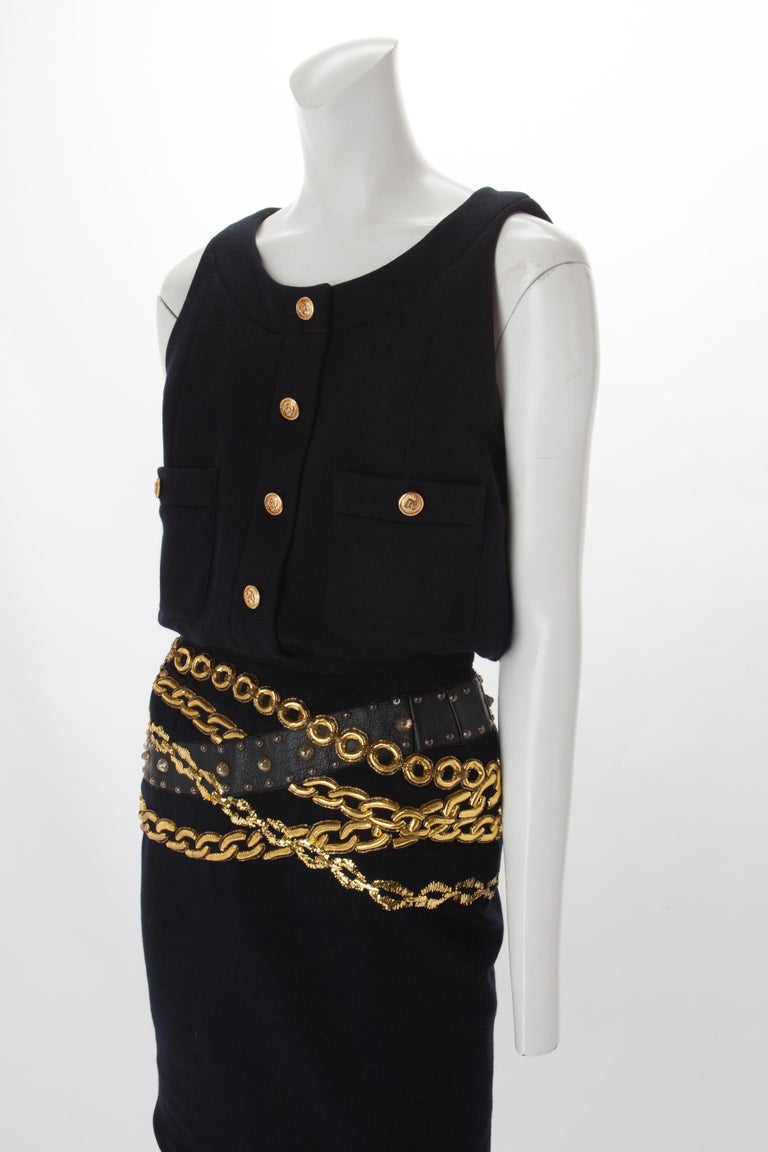 Women's Chanel Black Wool Dress with Gold Chain Trompe L'oeil, 1985. For Sale