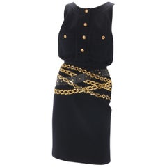 Chanel Black Wool Dress with Gold Chain Trompe L'oeil, 1985.