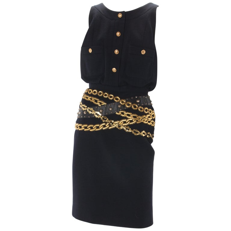 Chanel Black Wool Dress with Gold Chain Trompe L'oeil, 1985. For Sale