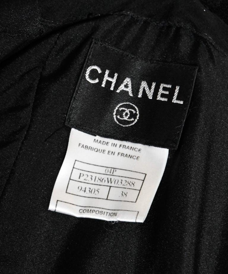 Chanel Black Wool Dress with Silk Frayed Straps & Bustline  For Sale 1