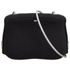 Chanel Black Wool Fabric Crossbody Bag France w/ Dust Bag