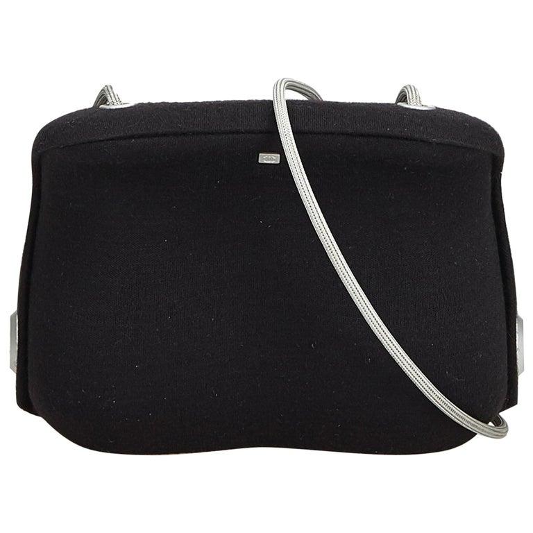 Chanel Black Wool Fabric Crossbody Bag France W/ Dust Bag by 1 Stdibs