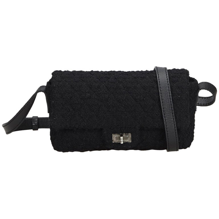 827c5a82e196 Chanel Black Wool Fabric Reissue Flap Shoulder Bag France For Sale. This  crossbody ...