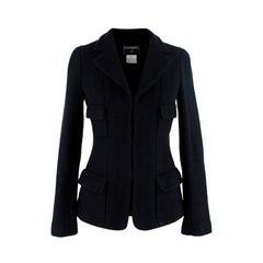 Chanel Black Wool Fitted Herringbone Tailored Jacket - US 00