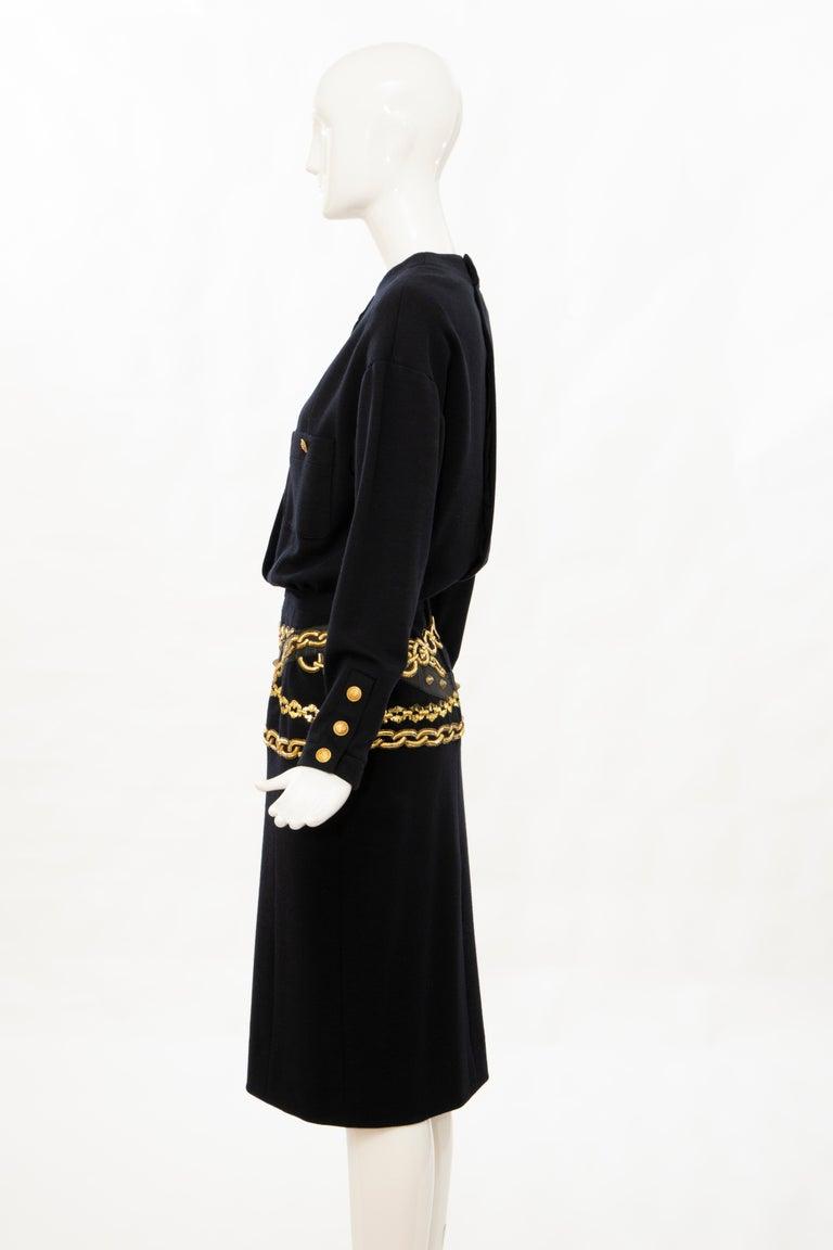 Chanel Black Wool Gold Metallic Trompe l'oeil Chain Belts Dress, Circa: 1990's 6