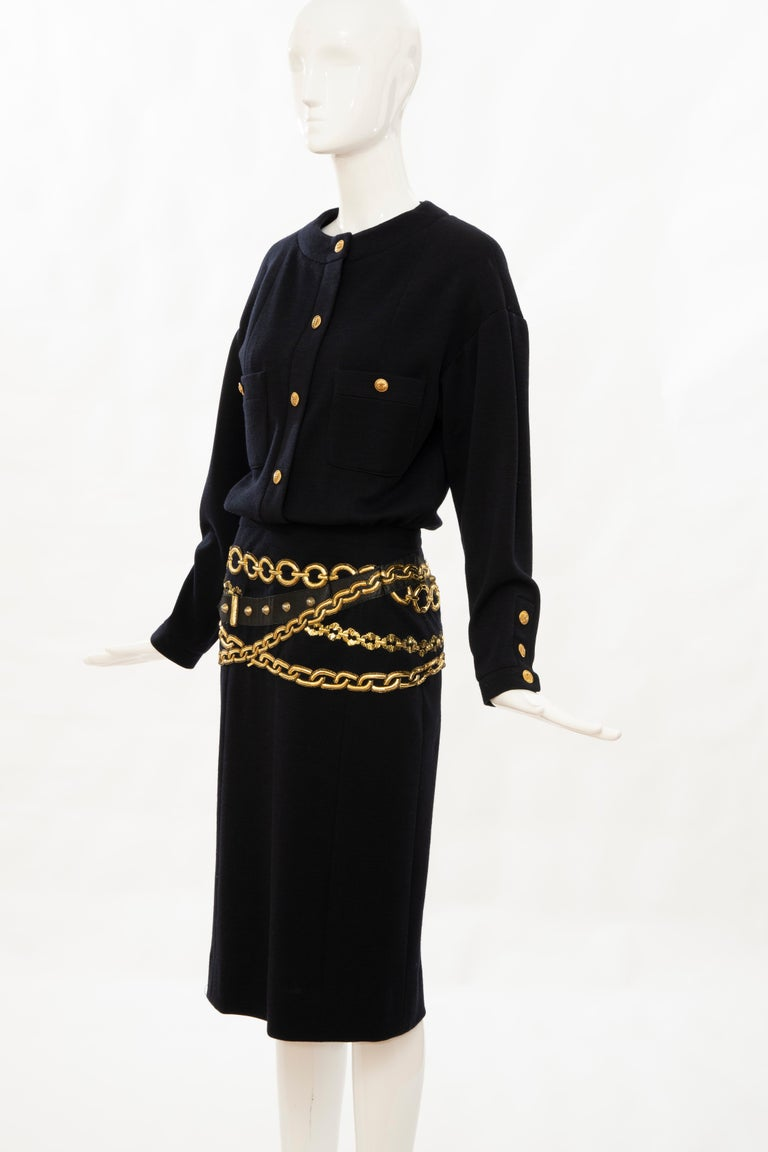 Chanel Black Wool Gold Metallic Trompe l'oeil Chain Belts Dress, Circa: 1990's 7