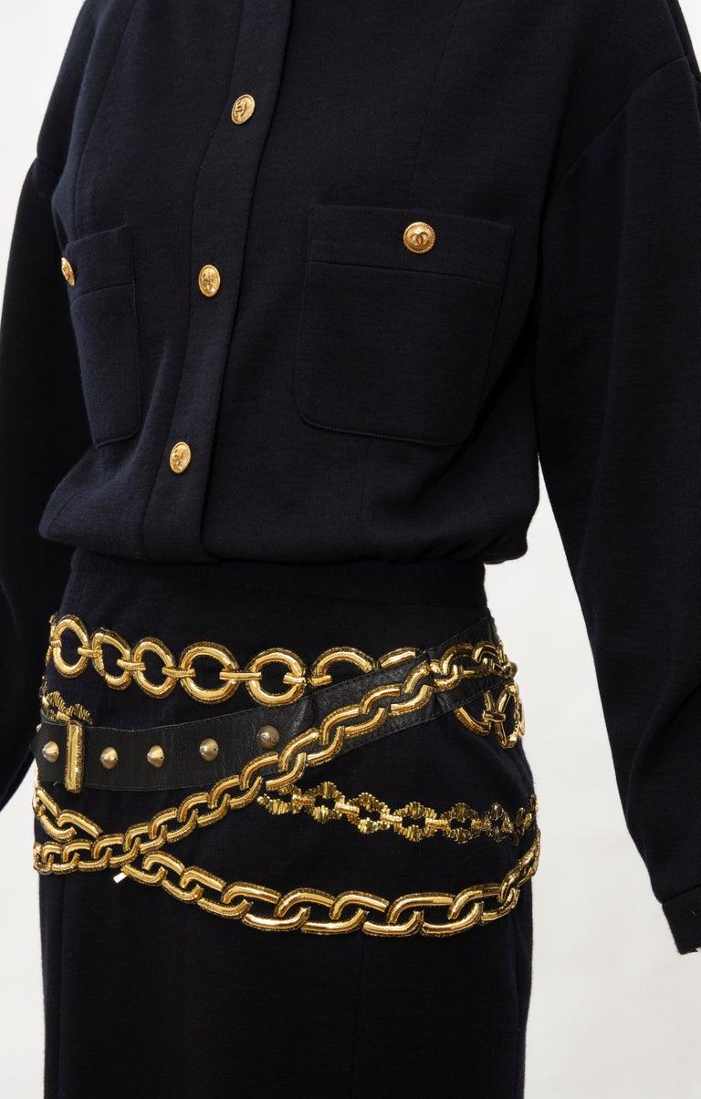 Chanel Black Wool Gold Metallic Trompe l'oeil Chain Belts Dress, Circa: 1990's 8
