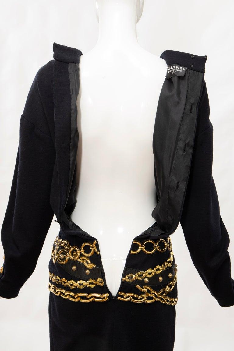 Chanel Black Wool Gold Metallic Trompe l'oeil Chain Belts Dress, Circa: 1990's 9