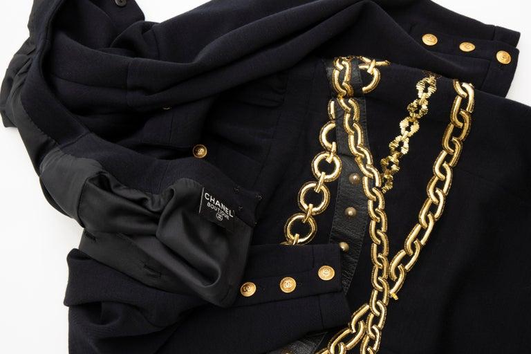 Chanel Black Wool Gold Metallic Trompe l'oeil Chain Belts Dress, Circa: 1990's 10