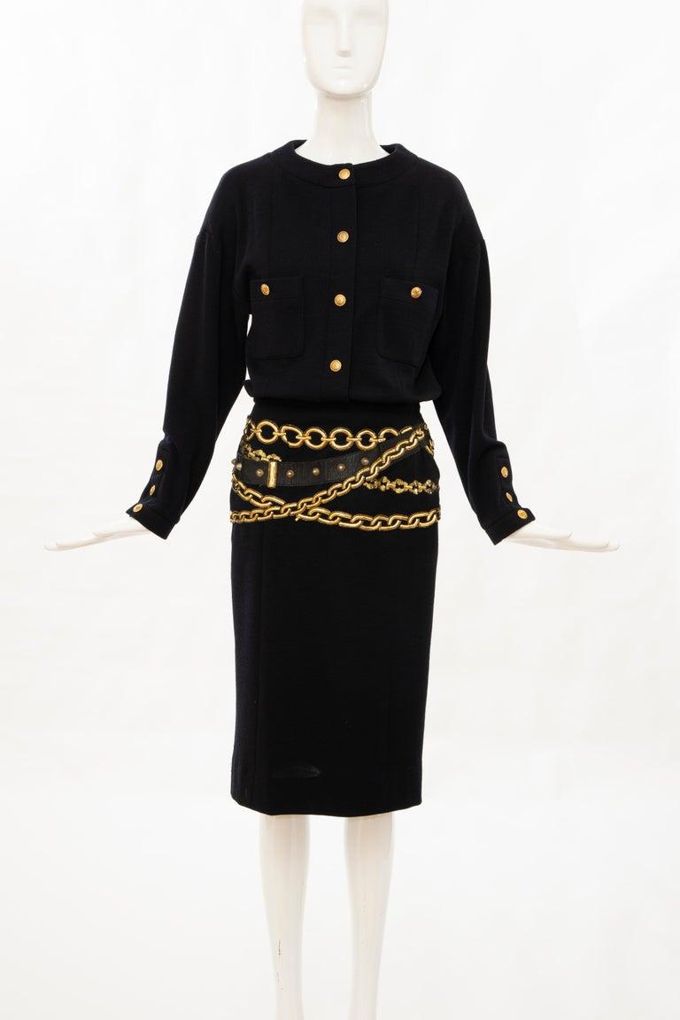 Chanel Black Wool Gold Metallic Trompe l'oeil Chain Belts Dress, Circa: 1990's In Excellent Condition In Cincinnati, OH