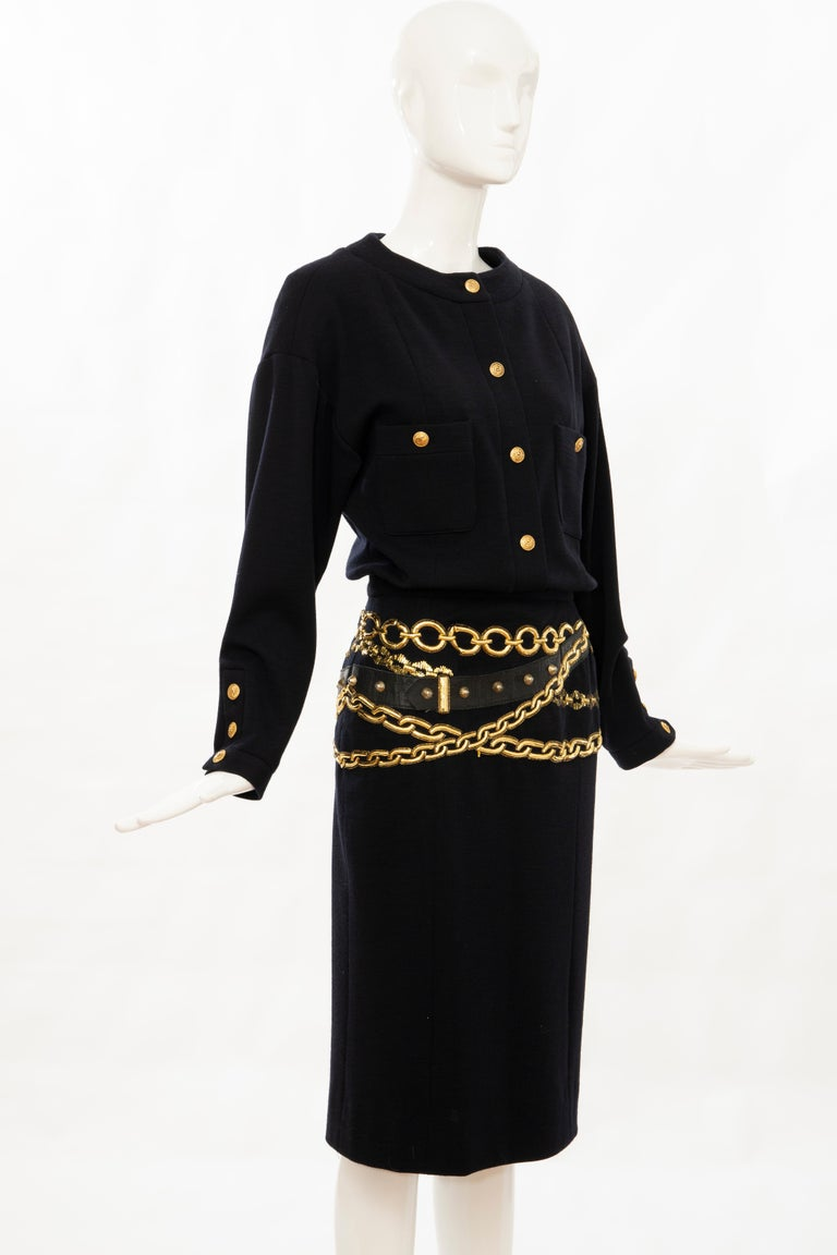 Women's Chanel Black Wool Gold Metallic Trompe l'oeil Chain Belts Dress, Circa: 1990's