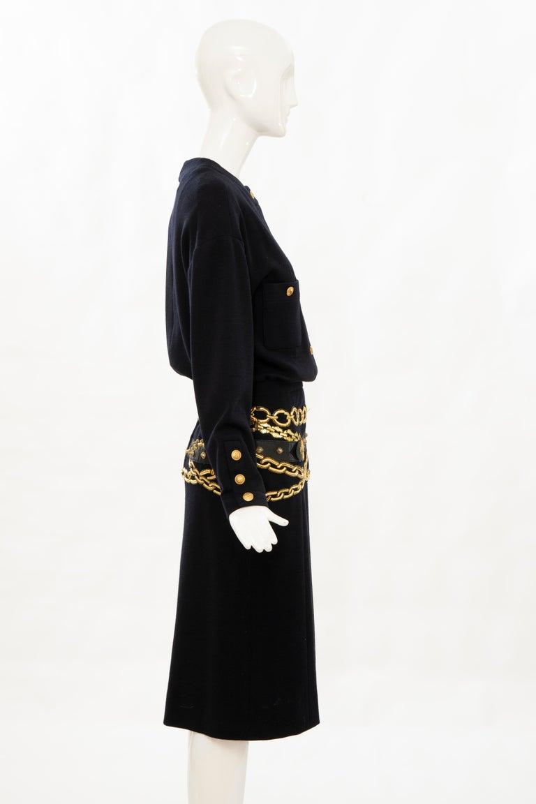 Chanel Black Wool Gold Metallic Trompe l'oeil Chain Belts Dress, Circa: 1990's 1
