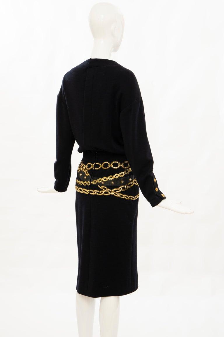 Chanel Black Wool Gold Metallic Trompe l'oeil Chain Belts Dress, Circa: 1990's 2
