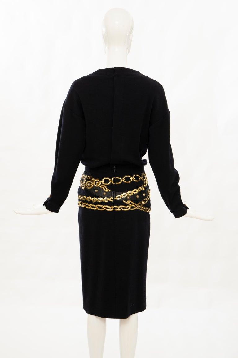Chanel Black Wool Gold Metallic Trompe l'oeil Chain Belts Dress, Circa: 1990's 3