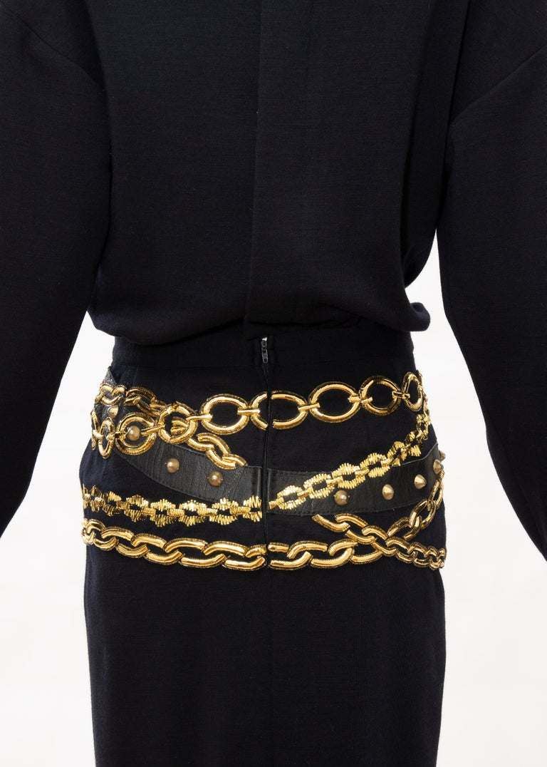 Chanel Black Wool Gold Metallic Trompe l'oeil Chain Belts Dress, Circa: 1990's 4