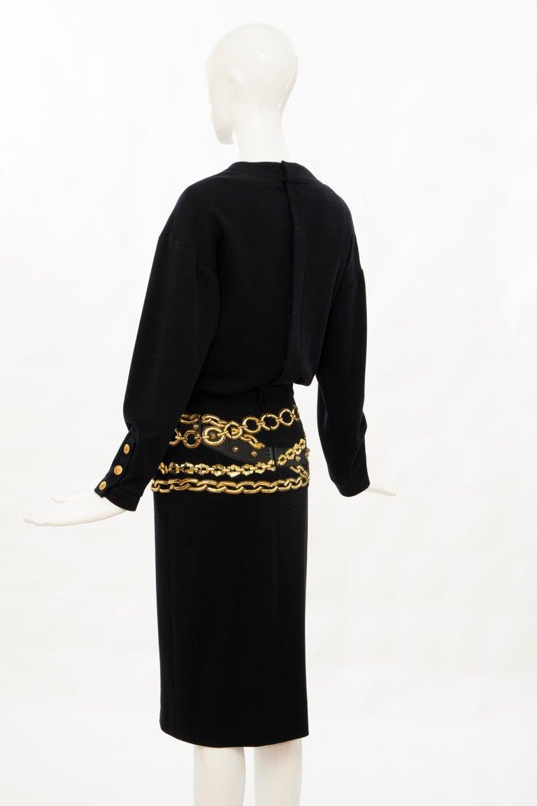 Chanel Black Wool Gold Metallic Trompe l'oeil Chain Belts Dress, Circa: 1990's 5