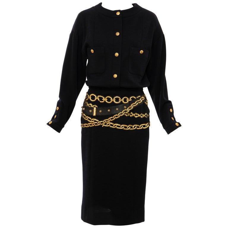 Chanel Black Wool Gold Metallic Trompe l'oeil Chain Belts Dress, Circa: 1990's