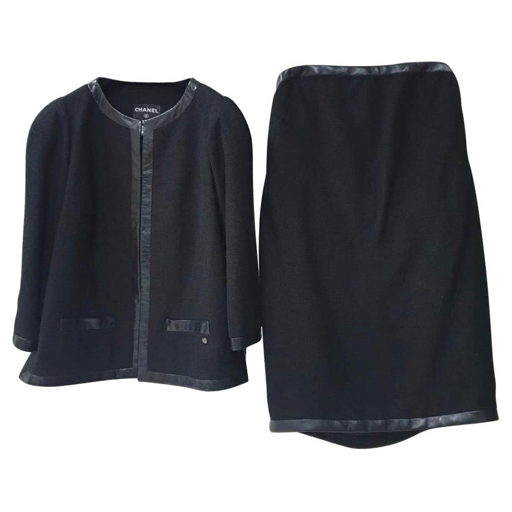 Chanel Black Wool Leather Trimmed Dress Jacket Set Suit