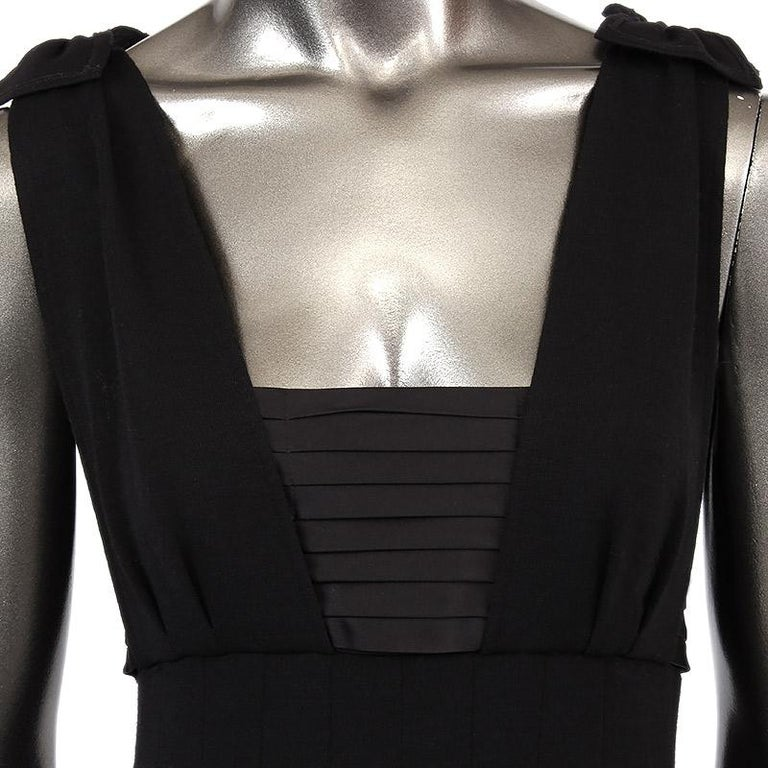 Black CHANEL black wool PLEATED Sleeveless Cocktail Dress 36 For Sale