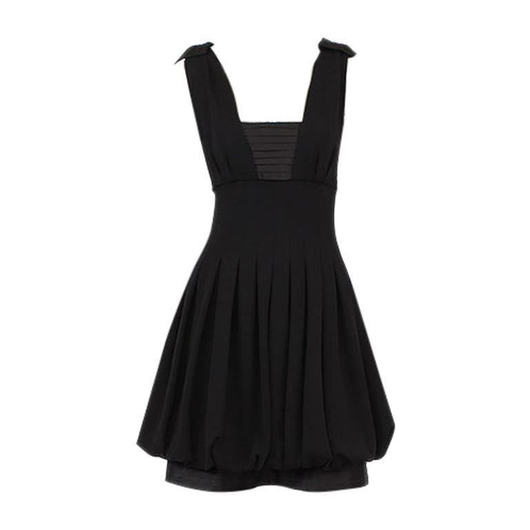 CHANEL black wool PLEATED Sleeveless Cocktail Dress 36 For Sale