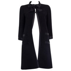 CHANEL black wool SATIN TIMMED BOW Coat Jacket 36 XS