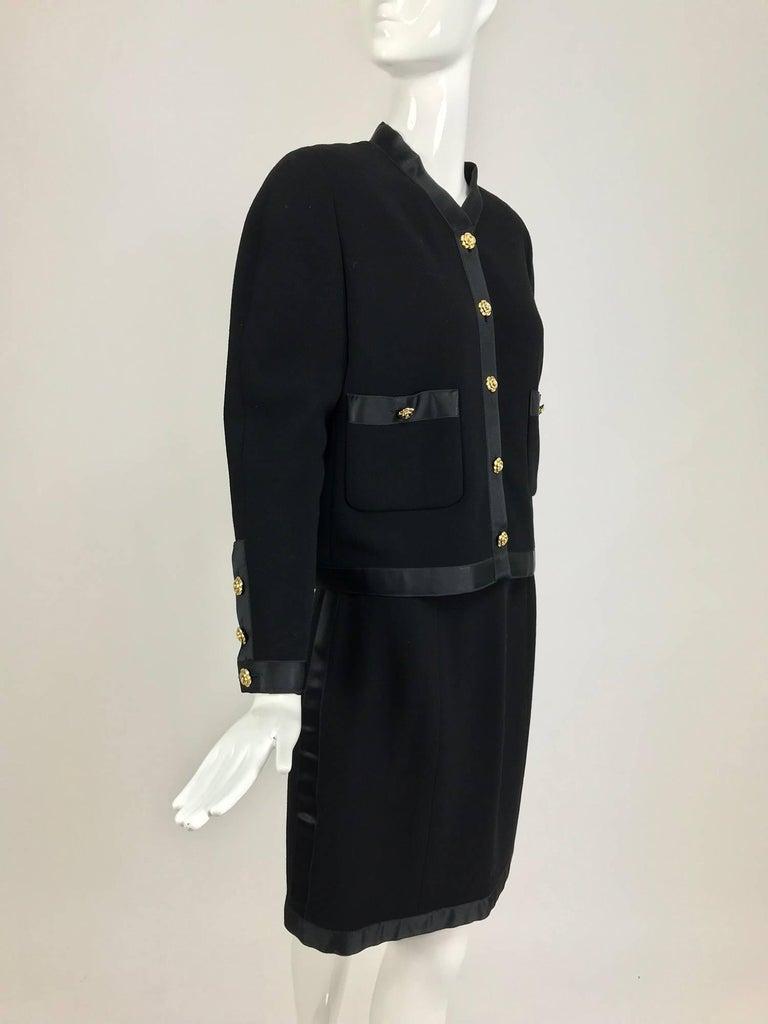 Black Chanel black wool satin trimmed skirt suit 1990s For Sale
