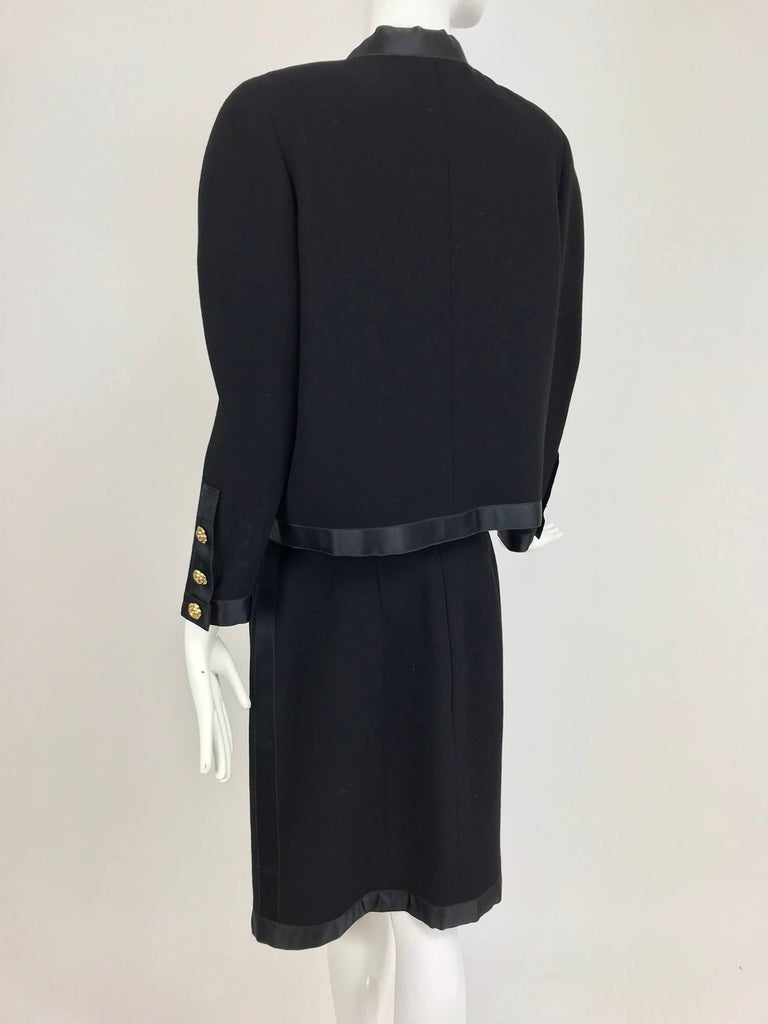 Chanel black wool satin trimmed skirt suit 1990s For Sale 1