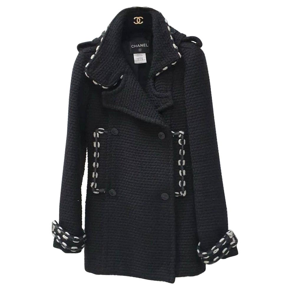 Chanel Black Wool Short Length Coat CC Buttons