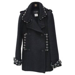 Chanel Black Wool Short Length Coat CC Buttons
