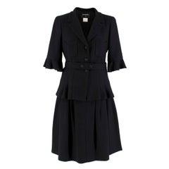 Chanel Black Wool & Silk Blend Jacket & Skirt Set FR 38