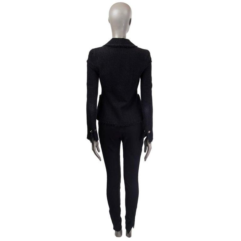 Black CHANEL black wool & silk THREE BUTTON Blazer Jacket 36 XS For Sale