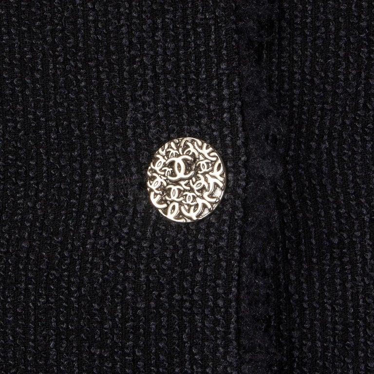 Women's CHANEL black wool & silk THREE BUTTON Blazer Jacket 36 XS For Sale