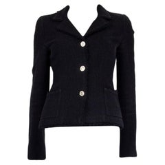 CHANEL black wool & silk THREE BUTTON Blazer Jacket 36 XS