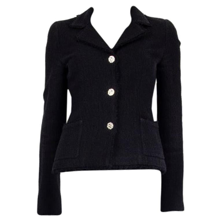 CHANEL black wool & silk THREE BUTTON Blazer Jacket 36 XS For Sale