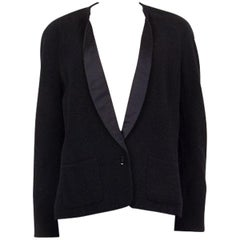 CHANEL black wool TUXEDO Blazer Jacket 46 XL