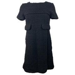Chanel Black Wool Tweed Short Sleeves Mini Dress Size 38