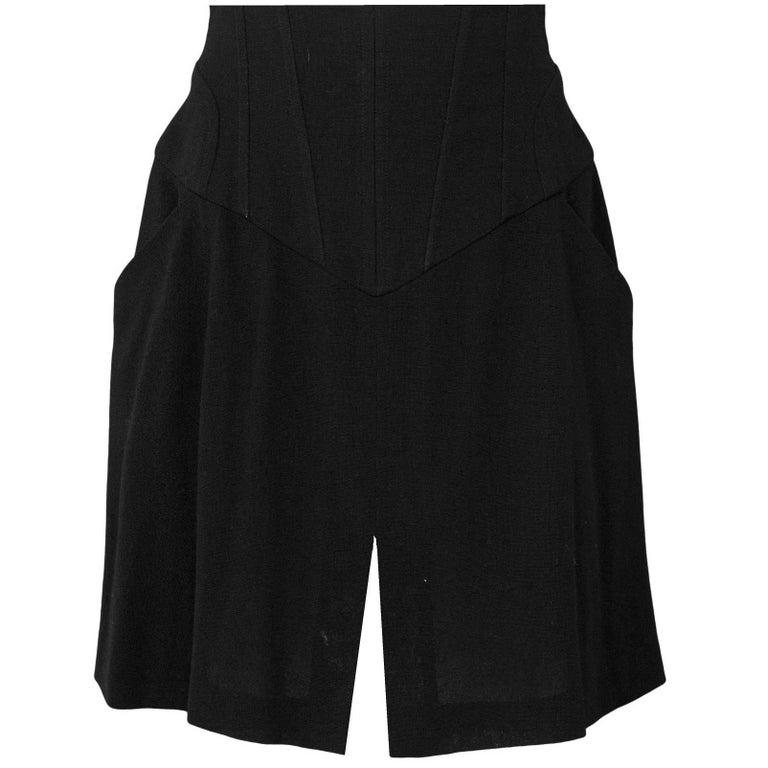 Chanel Black Wool Vintage Skirt Sz FR42